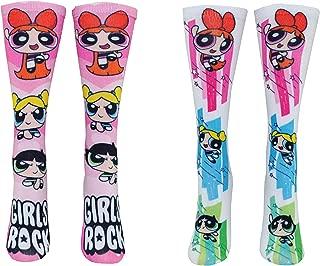 Powerpuff Girls Socks Costume (2 Pair) - (Women) Blossom, Buttercup, Bubbles 360 Crew Socks - Fits Shoe Size: 4-10 (Ladies)