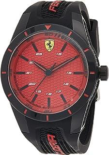 Ferrari Unisex-Adult Quartz Watch, Analog Display and Silicone Strap 830248, Black