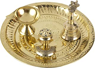 Spillbox Traditional Handcrafted Brass Thali/Aarti Plate for Pooja/Worship (Diya-Bell-Dhoop)