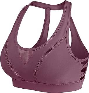 Womens Sports Bra High Impact Wirefree Hook-and-Eye Closure Workout Bra