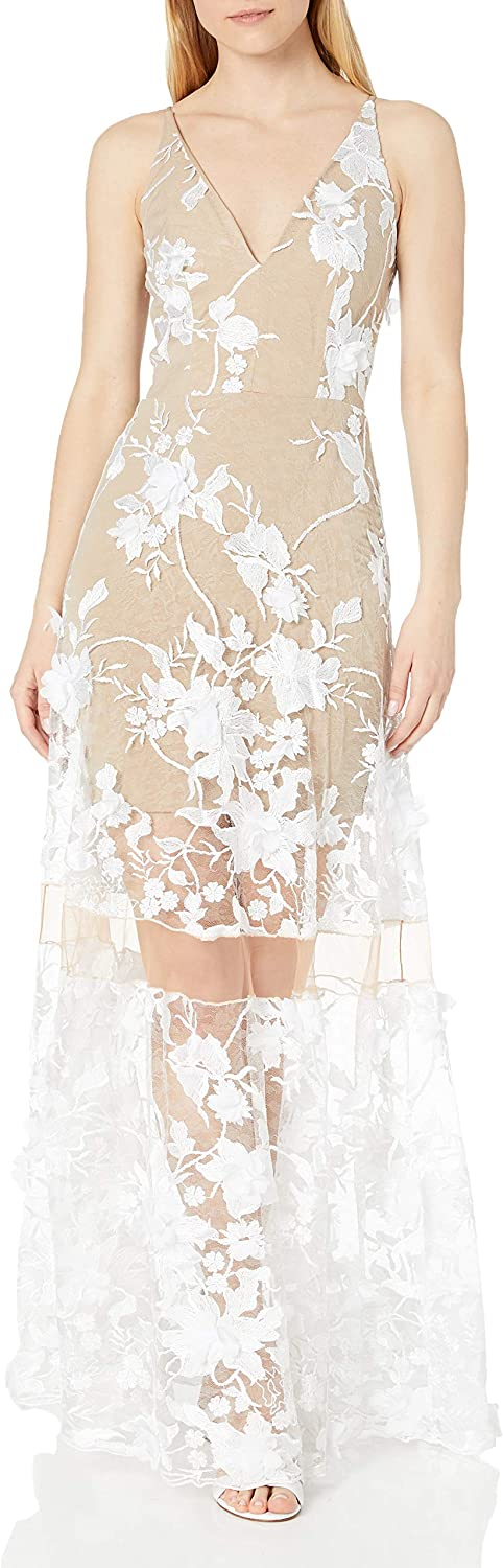 Dress the Population Women's Embellished Plunging Gown Sleeveless Floral Long Dress