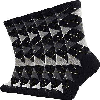 6 Pack Mens Argyle Dress Socks Moisture Wicking Bamboo Socks Cushioned Crew Socks
