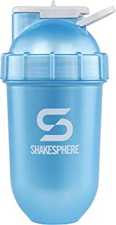 ShakeSphere Tumbler: Award Winning Protein Shaker Cup, 24oz ? Patented Capsule Shape Mixing ? Easy to Clean ? No Blending Ball Needed ? BPA Free ? Mix & Drink Shakes, Protein Powders (Cyan Blue)