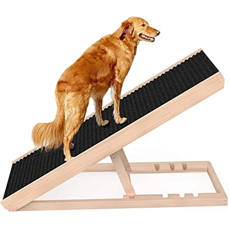 """SASRL Adjustable Pet Ramp for All Dogs and Cats - for Couch or Bed with Paw Traction Mat, 40 in Long and Adjustable from 9"""" to 24"""" - Non Slip Carpet Surface Height Adjustable Ramp Up to 120 Lbs"""