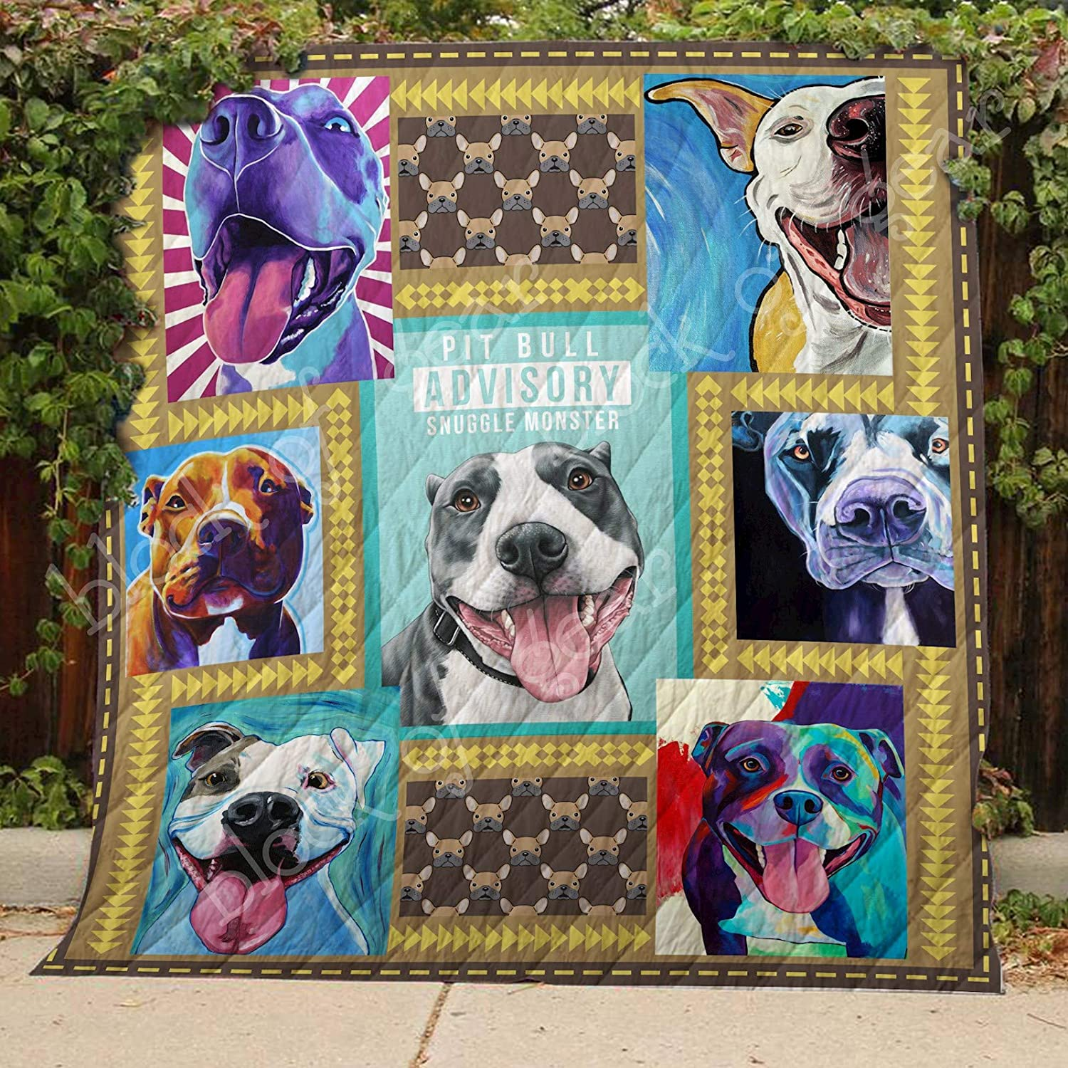 Pit Bull Quilt TH486, Queen All-Season Quilts Comforters with Reversible Cotton King Queen Twin Size - Best Decorative Quilts-Unique Quilted for Gifts