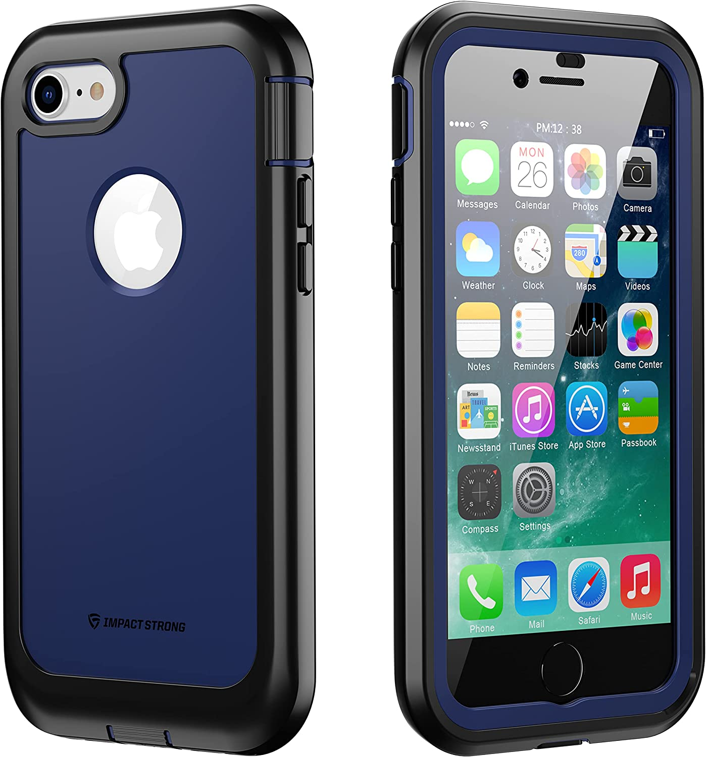 iPhone 7/8 Case, ImpactStrong Ultra Protective Case with Built-in Clear Screen Protector Full Body Cover for iPhone 7 2016 /iPhone 8 2017 (Navy Blue)