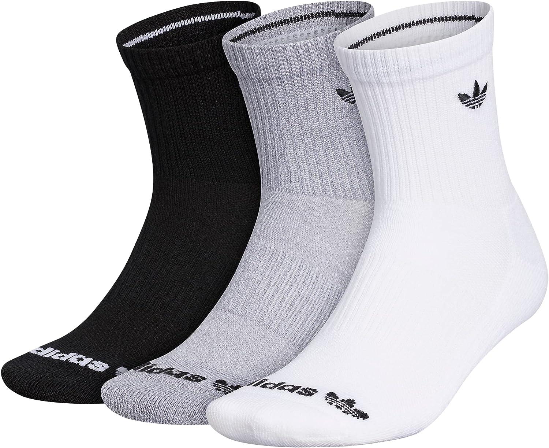 adidas Originals Trefoil Mid-Crew Socks (3-Pair),White/Grey Heather/Black,L