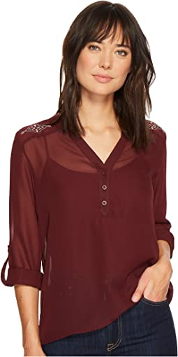 Cruel - Long Sleeve Chiffon Blouse w/ Roll Tab Sleeves