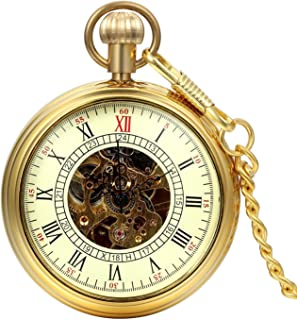 Men's Vintage Gold All Copper Open Face Steampunk Skeleton Mechanical Pocket Watch with Chain Best Gifts