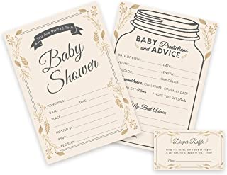 Baby Shower Invitations, Predictions and Diaper Raffle Tickets - Set of 25 (75 Cards) - Elegant, Mason Jar, Rustic, Gender Neutral, Fill in the Blank - By Simple Glee