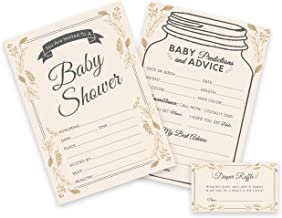 Baby Shower Invitations, Predictions and Diaper Raffle Tickets - Set of 25 (75 Cards) - Elegant, Mason Jar, Rustic, Gender...