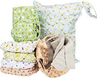 Simple Being Reusable Cloth Diapers- Double Gusset-6 Pack Pocket Adjustable Size-Waterproof Cover-6 Inserts-Wet Bag (Bugs)