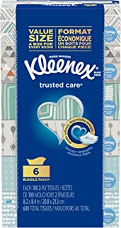 Trusted Care Facial Tissues, Hypoallergenic, Everyday Facial Tissues, 6 Rectangular Boxes, 100 Tissues per Box (600 Tissue...