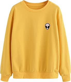 SweatyRocks Womens Casual Long Sleeve Pullover Sweatshirt Alien Patch Shirt Tops