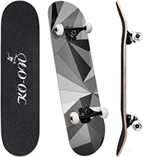 KO-ON Skateboard Complete Pre-Built Beginner Skateboards 31 inches x 7.88 inches for Kids, Youths, Teens, and Adults, Standard 7-ply Radial Concave Maple Deck with Double Kicktails for Tricks