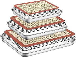 Baking Sheet Cooling Rack with Silicone Mat - Set of 9 (3 Pans + 3 Racks + 3 Mats), Paincco Stainless Steel Baking Pan Coo...