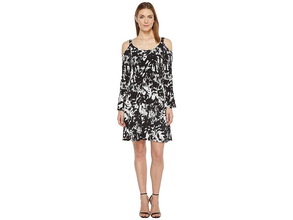 Karen Kane Cold Shoulder Flare Sleeve Dress (Print) Women