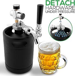 NutriChef Countertop Cooler Dispenser-Hot & Cold Water Mini Keg Beer Growler-64oz Detachable Aluminum Regulator & Spout Easy Storage Black Matte Powder Coated Pressurized