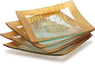GAC Elegant Designed Square Tempered Glass Dessert Plates Set of 4 – Break and Chip Resistant - Oven Proof - Microwave Saf...