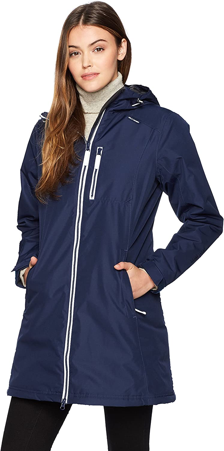 Helly Hansen Women's Long Belfast Insulated Waterproof Windproof Breathable Raincoat Jacket with Hood