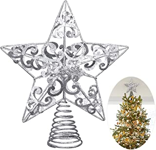 Unomor Christmas Star Tree Topper -Silver Glittered Metal Hallow Tree Star Unique Design- 8 Inches (Size Not Included Base) Fit for General Size Christmas Tree