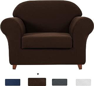 Subrtex 2-Piece Geometric Printed Stretch Fabric Sofa Slipcovers for Living Room (Chair, Chocolate)