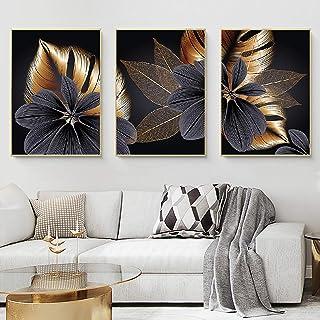 HSFFBHFBH Abstrait Noir doré Plante Feuille Toile Affiche Impression Moderne Maison Nordique Mur Art Peinture Salon décora...