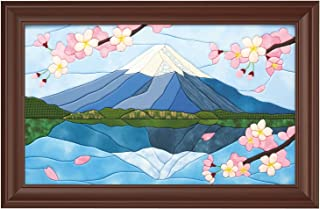 さくらほりきり 手作りキット きめこみ 逆さ富士と桜 額付 内寸M8号サイズ