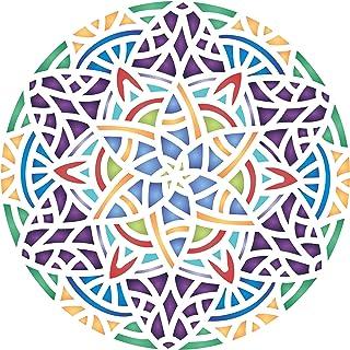 Arabic Mandala Stencil, 14 x 14 inch (L) - Islamic Mosaic Arabic Geometric Design Stencils Template for Painting