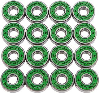 Yellow Jacket Premium Inline Skate Bearings, Roller Skate Bearings, 608, ABEC (Pack of 16)
