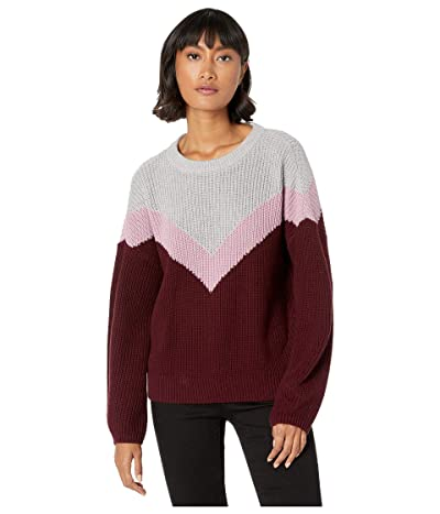 1.STATE Chevron Front Crew Neck Sweater (Mahogany) Women