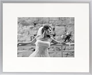 Golden State Art, Metal Wall Photo Frame Collection, 8x10 Aluminum Silver Photo Frame with Ivory Color Mat for 5x7 Picture, Real Glass & Table-top Display