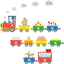 treepenguin Numbers Pet Train Wall Decals - Fun and Educational Animals for Nursery and Kids Rooms - Easy Peel Wall Stickers