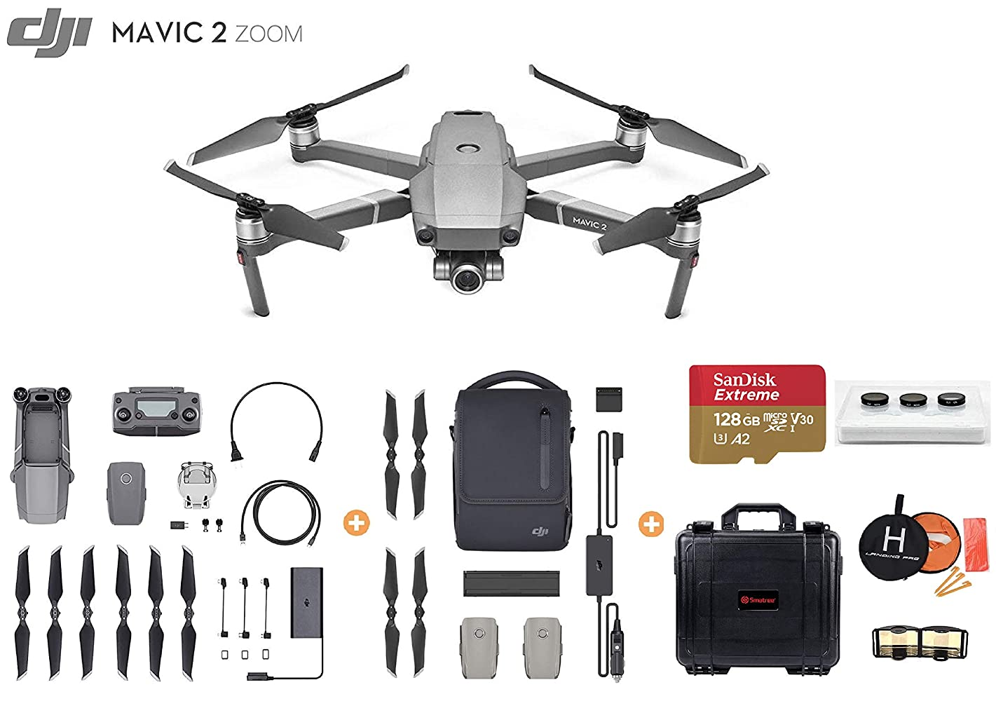 Mavic 2 Zoom with Fly More Kit, Ultimate Bundle, Smartree Waterproof Hard Case, 3-Filter Set (CPL ND16 ND32), 128 GB Extreme MicroSD, Landing Pad, and More