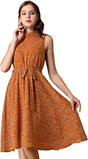 Allegra K Women's Casual Flowy Sundress Halter Neck Sleeveless Floral Dress