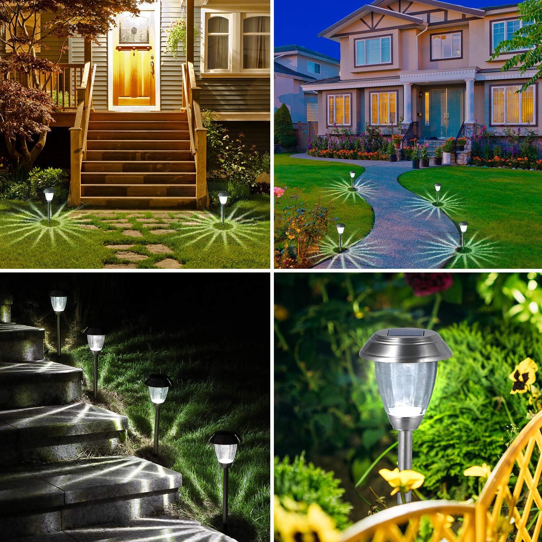 White 8 Pack Solar Garden Lights Stakes,OxyLED Super Bright IP44 Waterproof Outdoor Garden Decoration Garden Solar Lights for Pathway,Garden,Backyard,Christmas