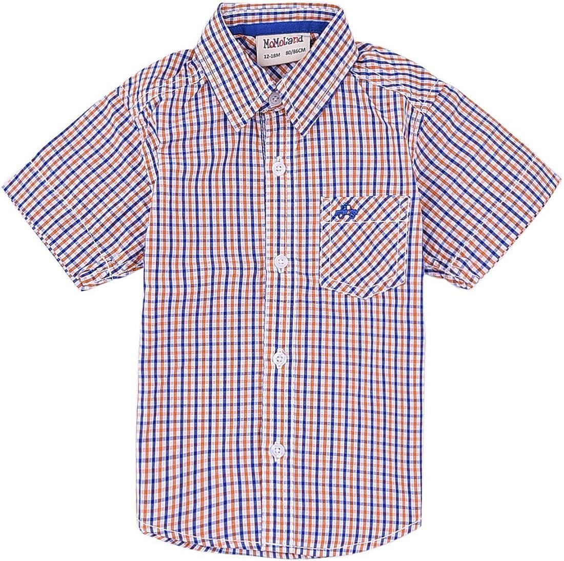 MOMOLAND Baby Boys' free shipping Max 69% OFF Plaid Woven Orange Sleeve Shirt Short