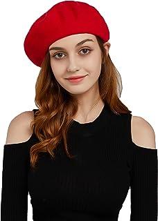 قبعة بيشات للنساء من الصوف الفرنسي بلون سادة خفيفة الوزن دافئة عادية