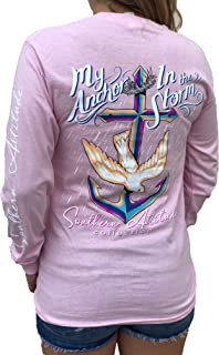 Southern Attitude My Anchor in The Storm Cross Anchor Pink Women's Long Sleeve Shirt