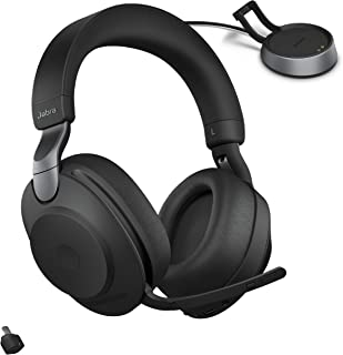 Jabra Evolve2 85 UC Wireless Headphones with Link380c & Charging Stand, Stereo, Black – Wireless Bluetooth Headset for Cal...