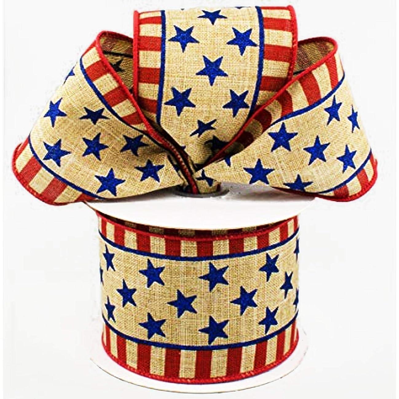 Patriotic Stars & Stripes Canvas Wired Edge Ribbon - 10 Yards (2.5