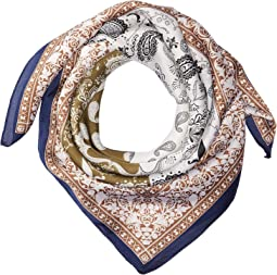 BSS3539 Square Woven Scarf with Paisley Print