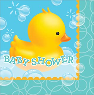 Creative Converting 16 Count 2 Ply Baby Shower Bubble Bath Lunch Napkins, Blue/Yellow