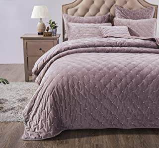 Tache Solid Purple Mauve Velvety Dreams Luxury Velveteen Super Soft Plush Diamond Tufted Quilted Bedspread 3 Piece Quilt Set, California King