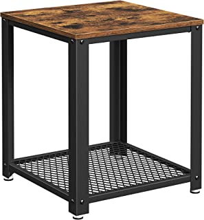 VASAGLE Industrial End Table, 2-Tier Side Table with Storage Shelf, Sturdy, Easy Assembly, Wood Look Accent Furniture, wit...