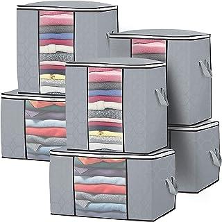 Lot de 6 Sac de Rangement Grande Rangement pour Couette avec Fenêtre Transparent et fermeture éclair Sacs à Vêtements Plia...