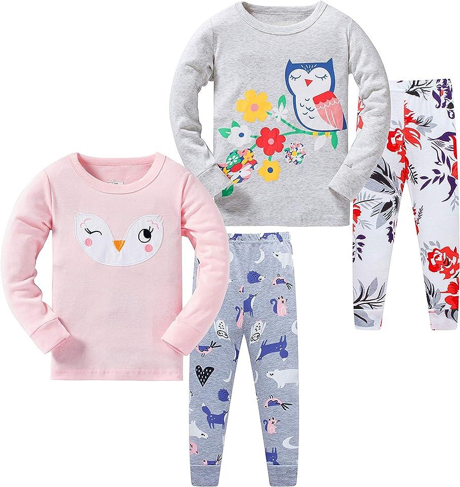 Pyjamas for Girls Long Sleeve 4-Piece Little Kids Sleepwear Pajama Set 2-8 Years