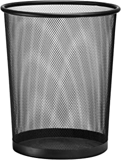 D.RECT Poubelle métal maille 19L noir| Corbeille à papier en treillis métallique | Corbeille à papier ronde