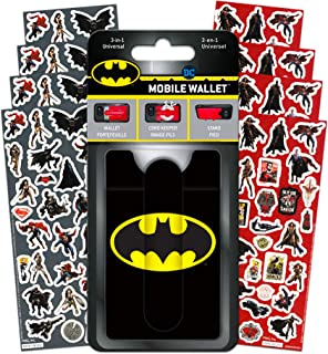 DC Comics Batman Wallet for Phone Set- Deluxe Stick on Wallet for Cell Phone with Card Holder, Phone Cord Holder, Stand and Stickers (Batman Mobile Wallet Accessories)
