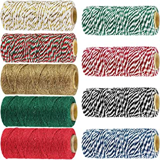 Windiy 9 Rolls 9 Color 495 Yard Holiday Bakers Twine Strings Bulk Decorative Christmas Twine Gift Hanging Cotton String Packing Trim Cord Colored Rope Natural Jute Twine Rustic Hemp Cord